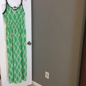 Green lattice maxi dress